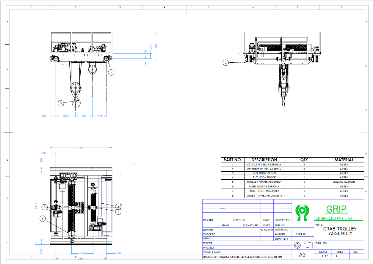 FDES - EOT Crane Crab Trolley Assembly Drawing