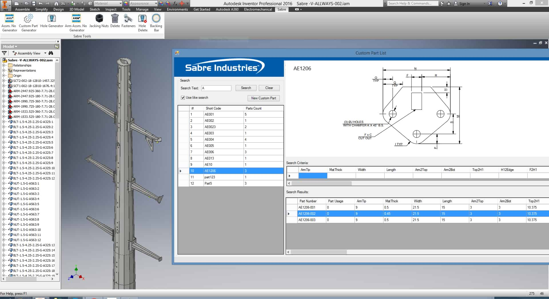 Sabre Utility Structure - Autodesk Inventor Automation - Custom Part Generator